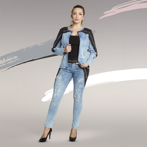 Tesoro Moda by Donna Vinci 20015JKT Crepe Denim Jacket
