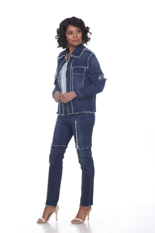 Tesoro Moda by Donna Vinci 20024JKT Patchwork Denim Jacket