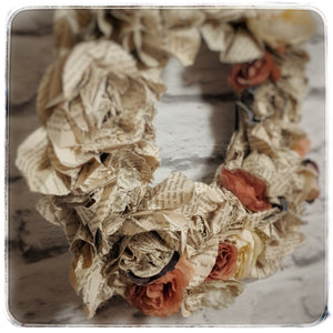 Upcycled vintage book pages turned into a rose wreath