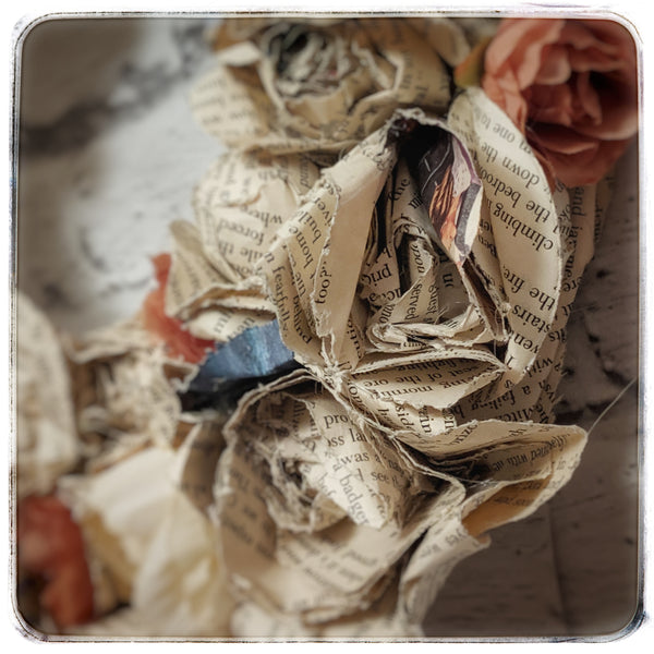 Vintage paper and silk rose wreath