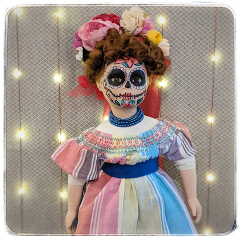 Frida-Dia de los Muertos, Day of the Dead upcycled Vintage Collectible Porcelain Doll