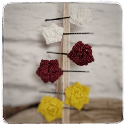 Crochet Rose Hair Pins