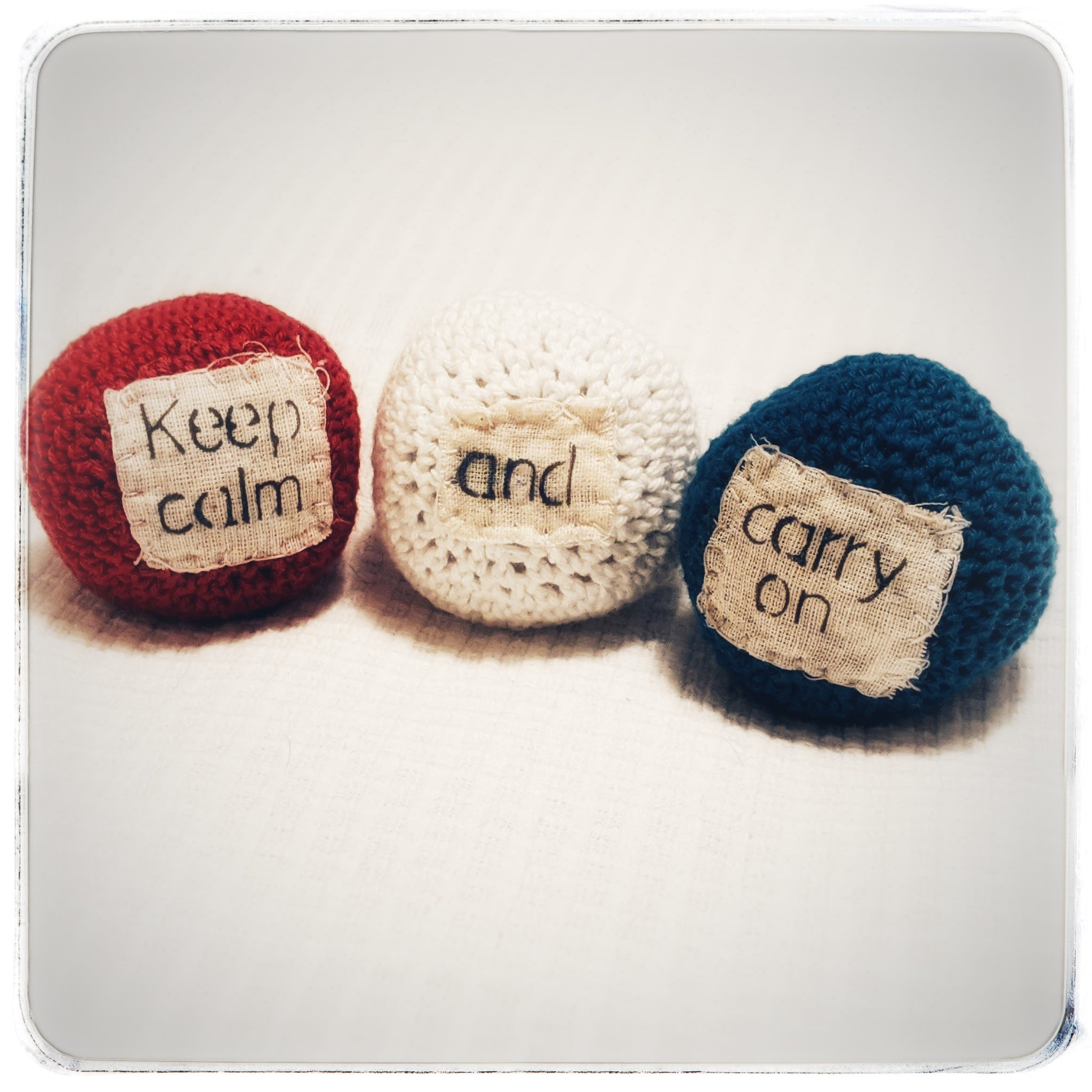 Crochet stress balls with quotes (or juggling balls!) in many different themes