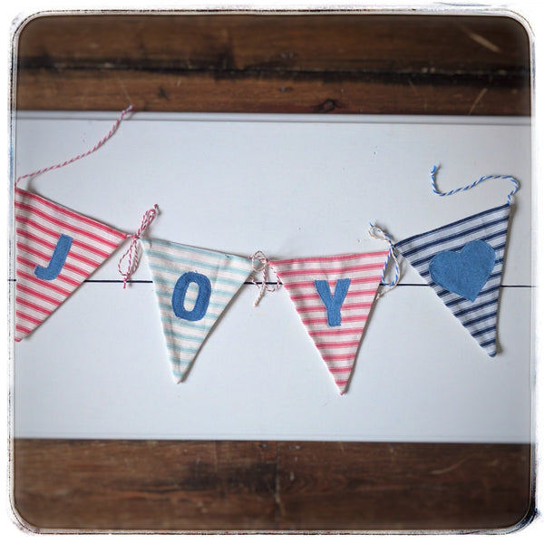 Alphabet bunting-tie together, Blue, pink and aqua