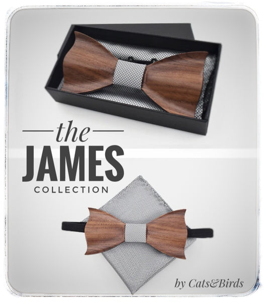 'James' Wooden Bow Tie Set