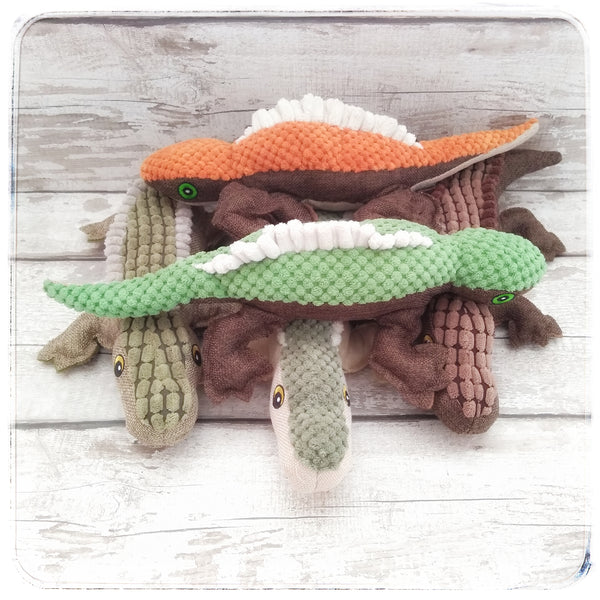 Friendly Pile of Reptile Dog Toys