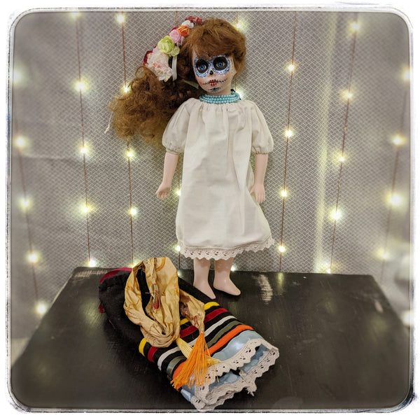 Liliana-Dia de los Muertos, Day of the Dead upcycled vintage Leonardo Collection porcelain doll