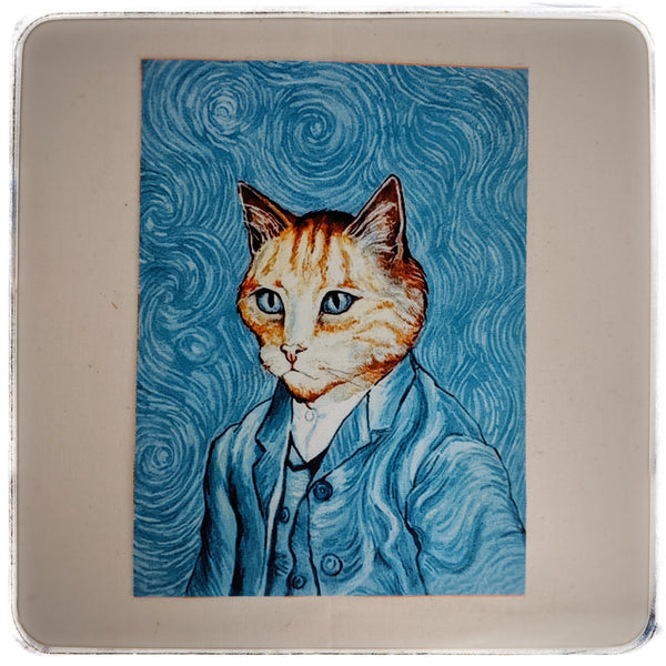 Cats in paintings printed cotton canvas panels for quilting