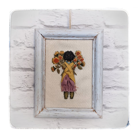 Ubuntu-framed mixed media embroidery-RESERVED