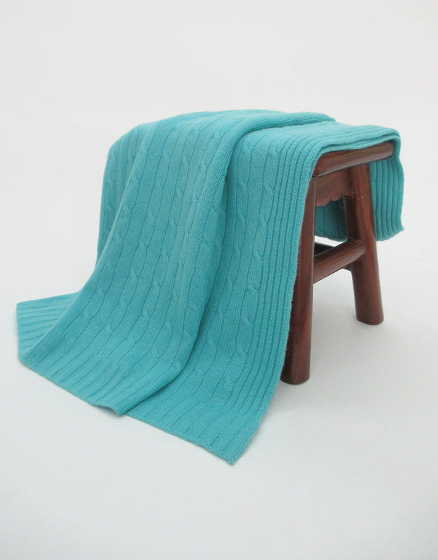 Cashmere Travel Blanket in Aqua