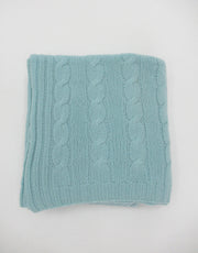 Cashmere Cable Blanket in Air Blue