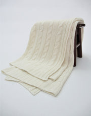 Cashmere Cable Blanket in Ivory
