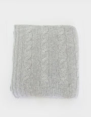Cashmere Cable Blanket in Platinum