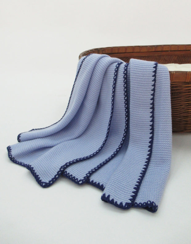 Soft Knit Cashmere Baby Blanket in Blue Marine
