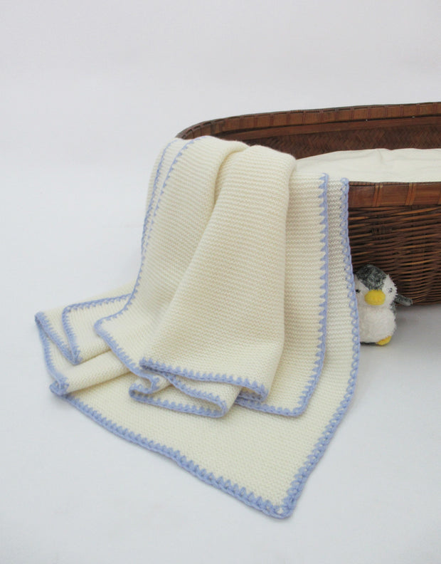 Soft Knit Cashmere Baby Blanket in Ivory Blue