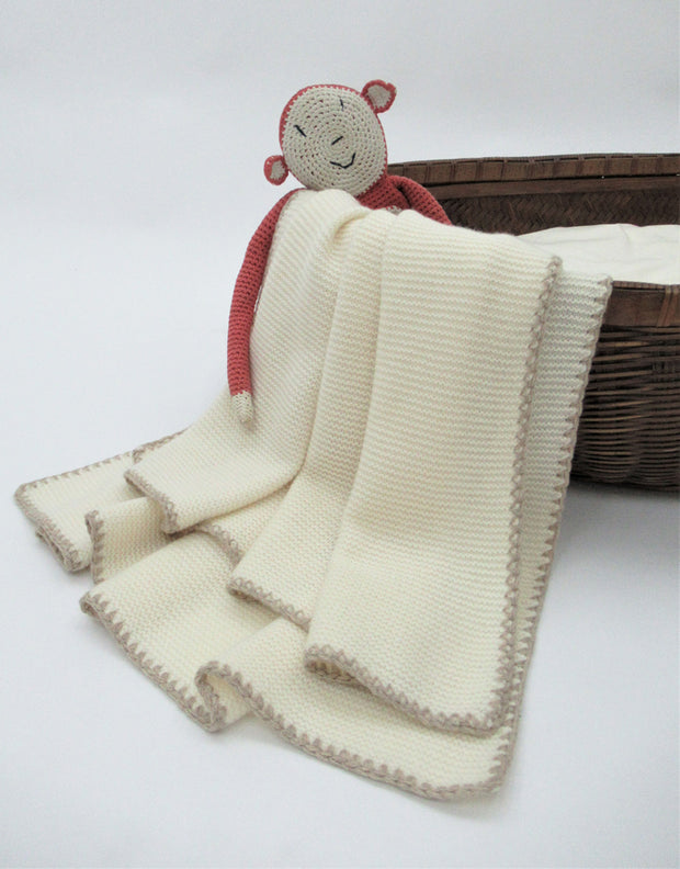 Soft Knit Cashmere Baby Blanket in Ivory Greige
