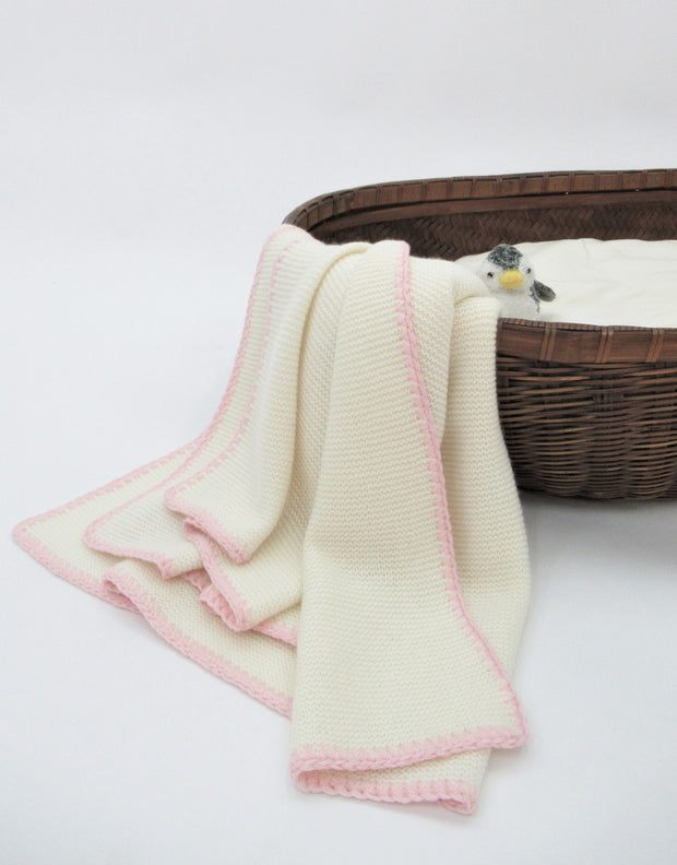 Soft Knit Cashmere Baby Blanket in Ivory Rose