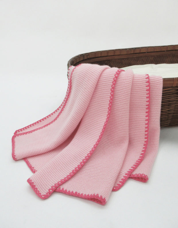 Soft Knit Cashmere Baby Blanket in Rose