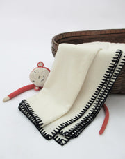 Cashmere Baby Blanket with Stitch in Ivory Nero Navy
