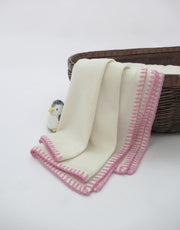 Cashmere Baby Blanket with Stitch in Ivory Pink