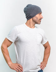 The Short Tube Cashmere Beanie in Geo