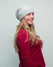 Thick Cable Hem Beanie in Platinum