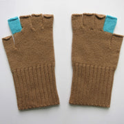 Contrast Fingerless Gloves