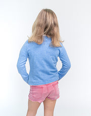 Classic Girls Crew Neck Cashmere Cardigan in Bright Blue