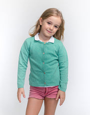 Classic Girls Crew Neck Cashmere Cardigan in Leaf
