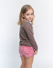 Classic Girls Crew Neck Cashmere Cardigan in Nut