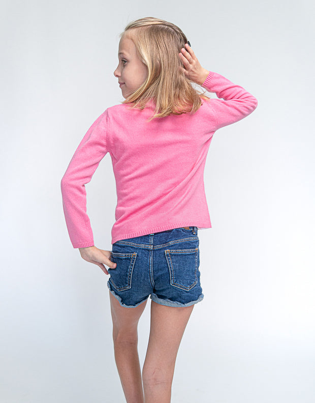 Classic Girls Crew Neck Cashmere Cardigan in Strawberry