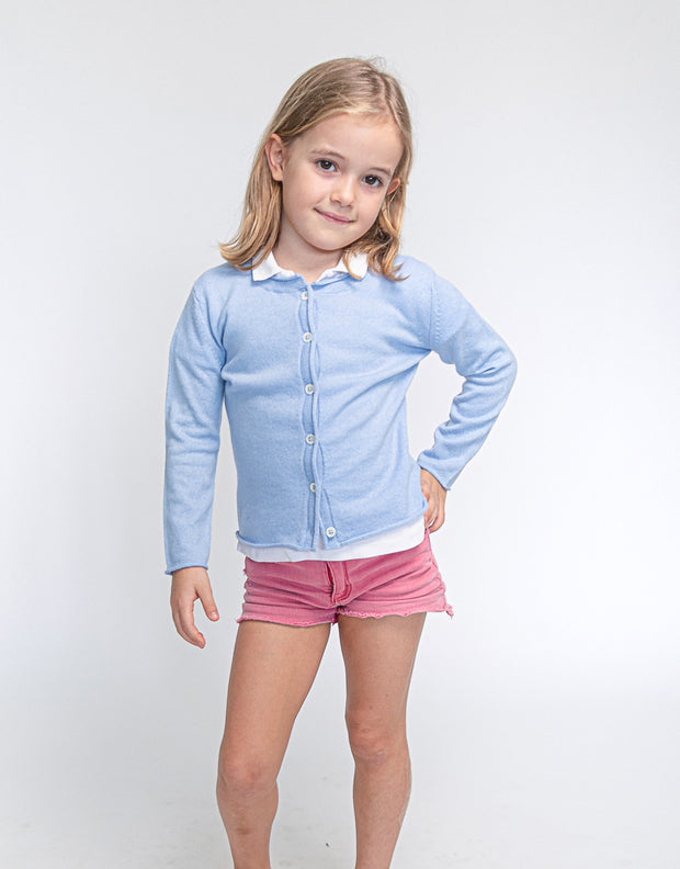 Girls Cashmere Cardigan in Light Blue