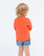 Kids Cable Pullover in Mandarin