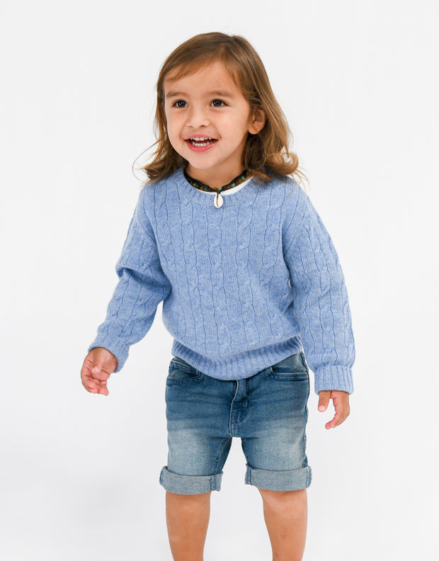 Kids Cable Pullover in Sky