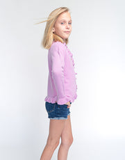The Little Lilly Girls Cashmere Cardigan in Flieder Rose