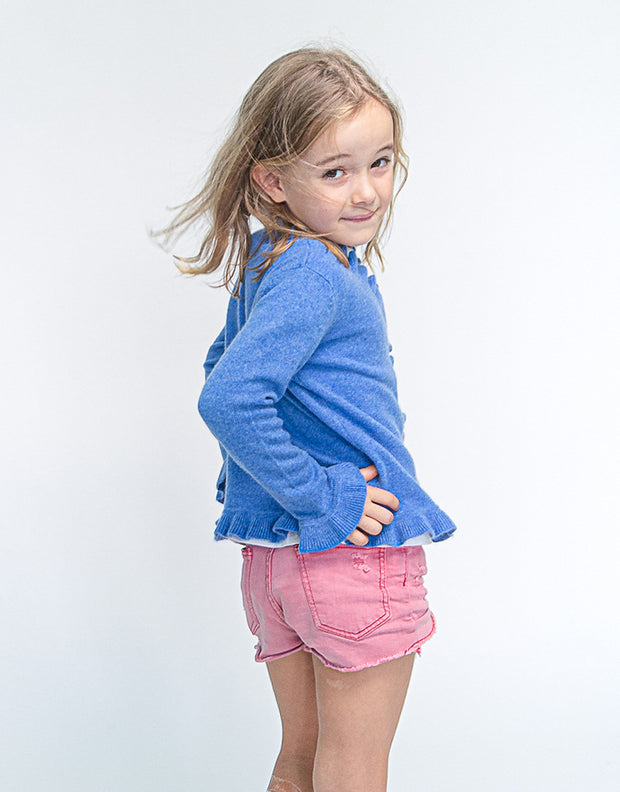 The Little Lilly Girls Cashmere Cardigan in Kobolt