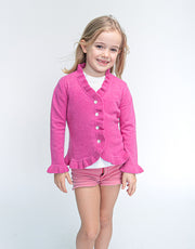 The Little Lilly Girls Cashmere Cardigan in Operetta