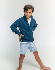 Hugo Jacket Boys Zip-Up Cashmere Jacket in Atlantic