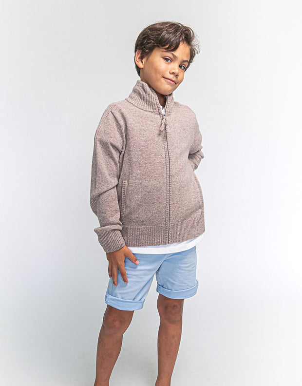 Hugo Jacket Boys Zip-Up Cashmere Jacket in Greige