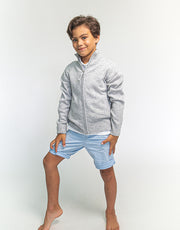 Hugo Jacket Boys Zip-Up Cashmere Jacket in Platinum