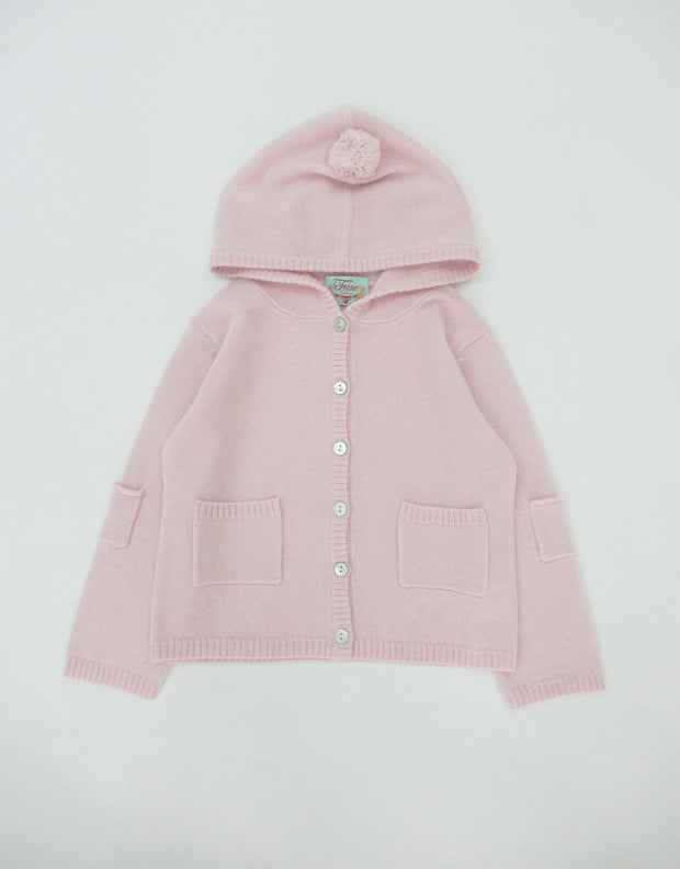 Cashmere Hooded Baby Cardigan in Baby Rose