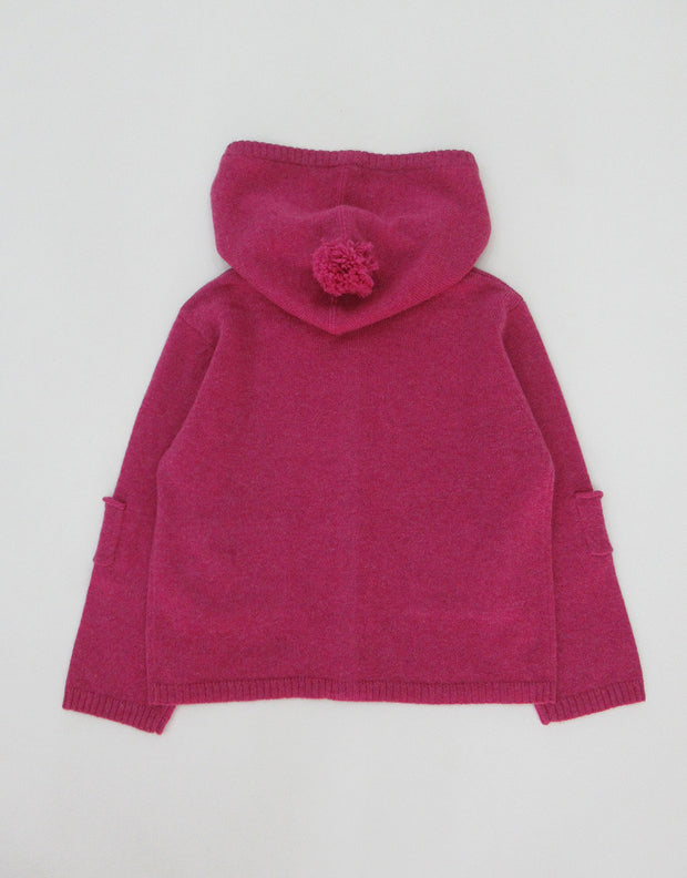 Cashmere Hooded Baby Cardigan in Berry