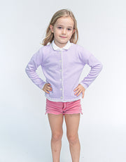 Coco Girls Cashmere Cardigan in Confetti Lila