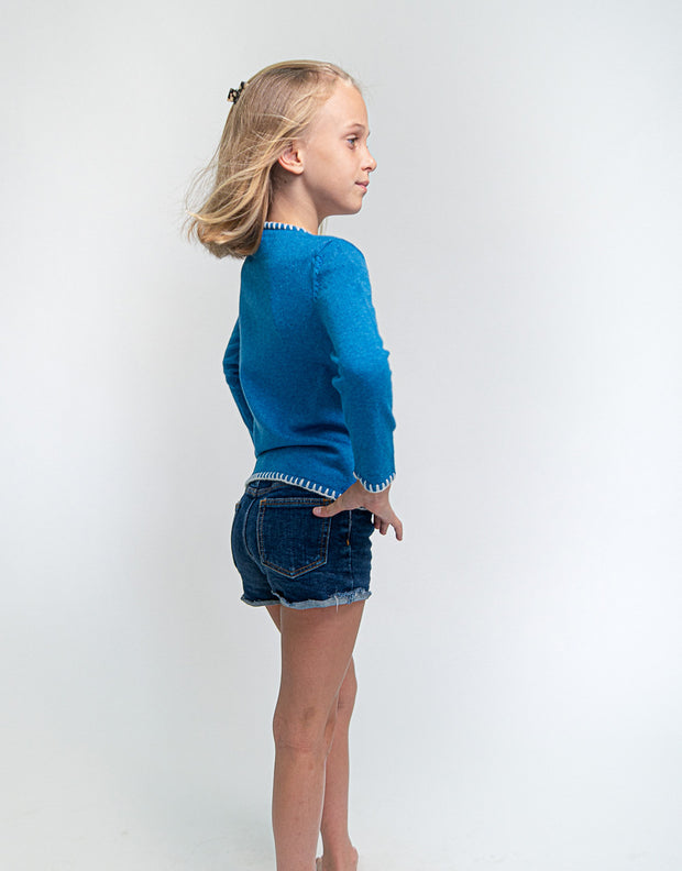 Coco Girls Cashmere Cardigan in Peacock