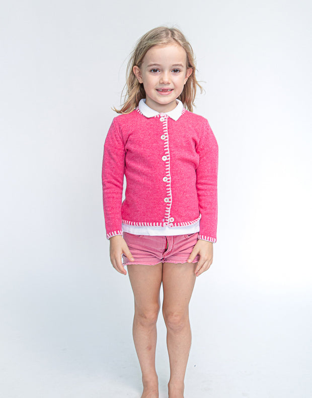 Coco Girls Cashmere Cardigan in Peony Rose