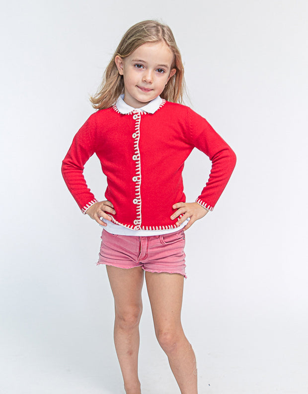 Coco Girls Cashmere Cardigan in Postbox