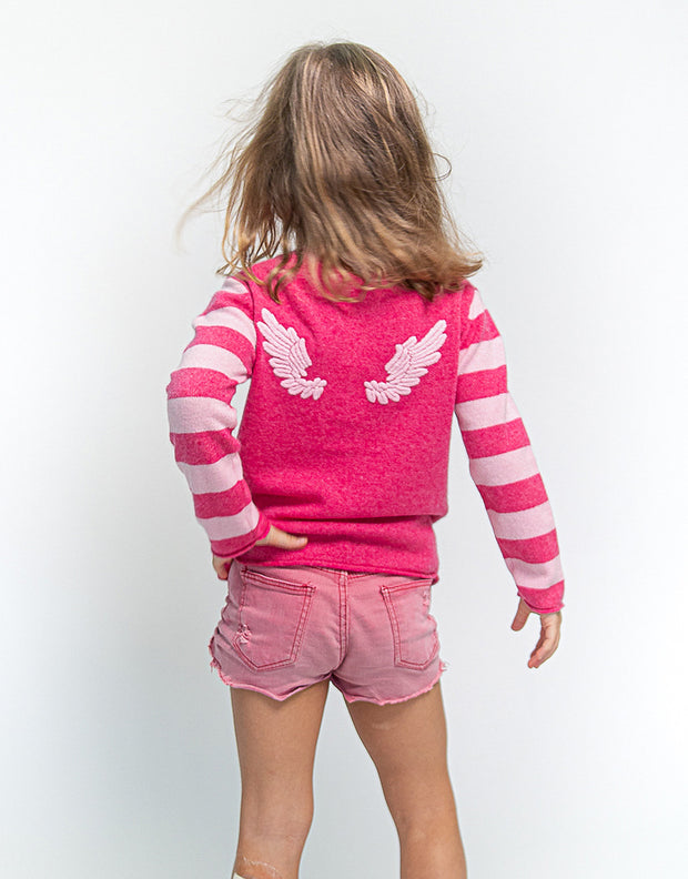 Baby Angel Wing Pullover in Peony