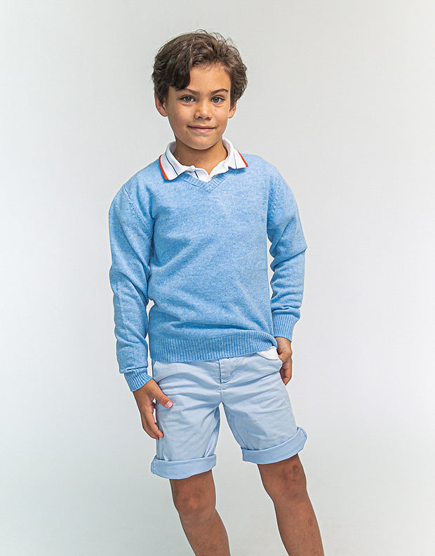 The Tommy V - Boys Cashmere Pullover in Beach Blue