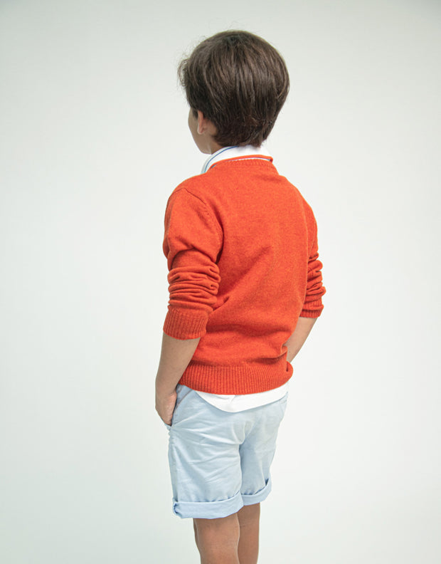 The Tommy V - Boys Cashmere Pullover in Tikka