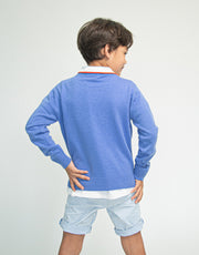 The Tommy - Boys Cashmere Crew Neck Pullover in Cornflower